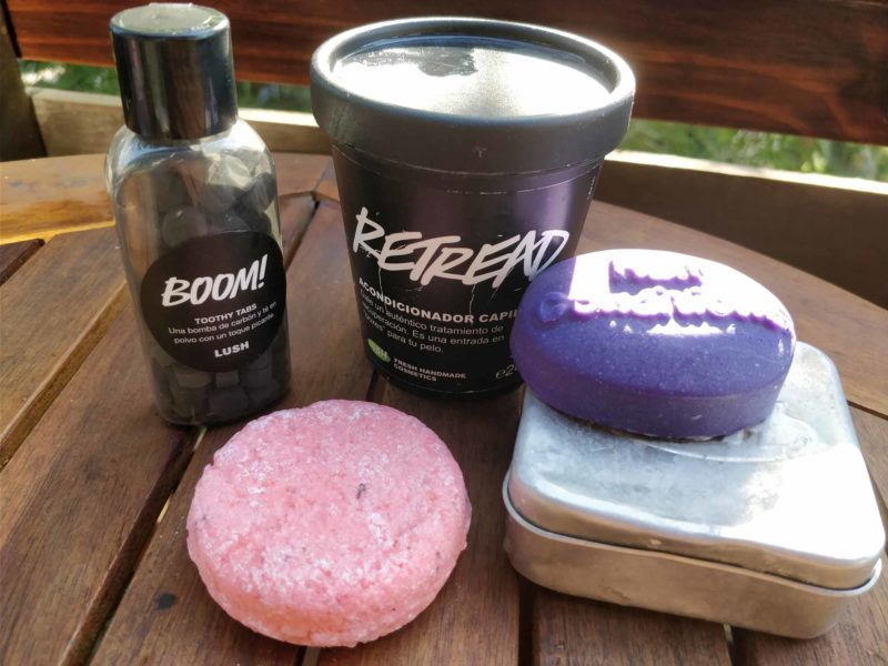 Hard shampoo, conditioner and other reduced-plastic items from Lush, make a great gift for travel lovers