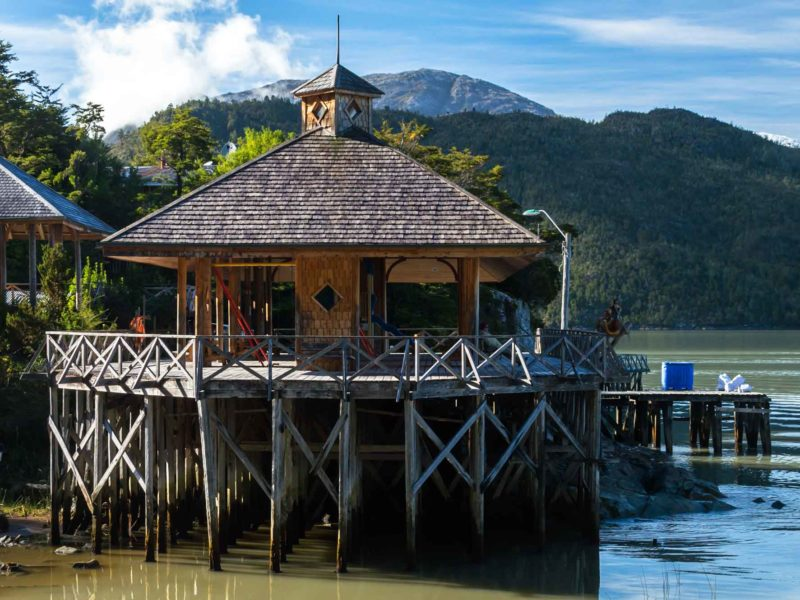 A house on stilts in Caleta Tortel, a town best reached by driving through Patagonia