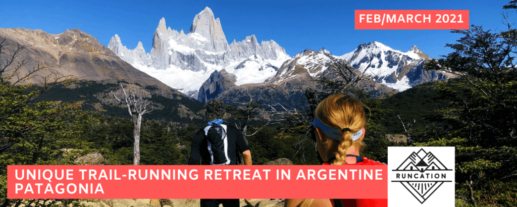 Runners on the trail to Laguna de los Tres and Monte Fitzroy in El Chalten, Argentina Patagonia on a trail-running retreat with Runcation