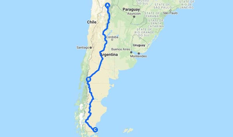 Map of Ruta 40/Route 40 in Argentina