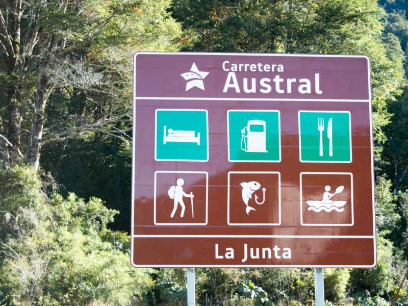 Signs for the Carretera Austral mark your path when driving in Patagonia