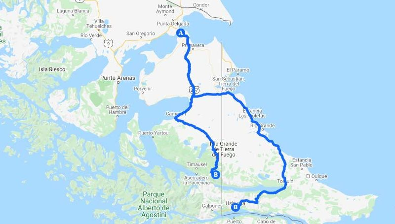 Route of roads for driving through Chilean and Argentine Tierra del Fuego