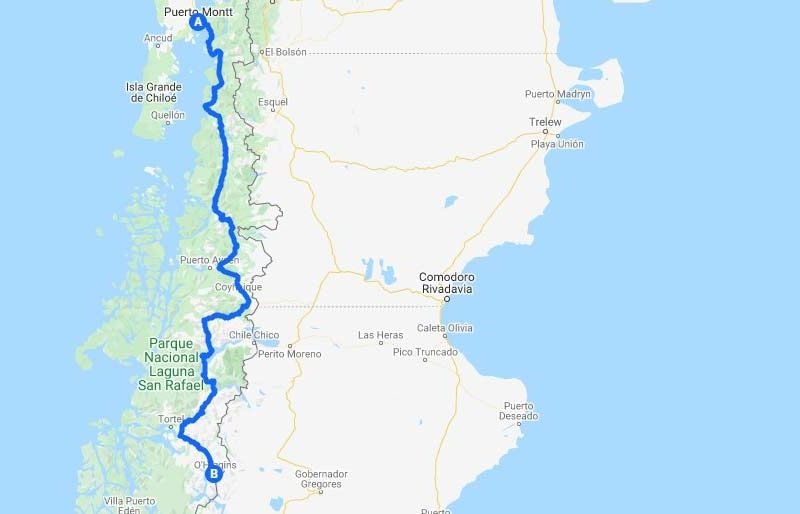 Map showing the route of the Carretera Austral in Chilean Patagonia