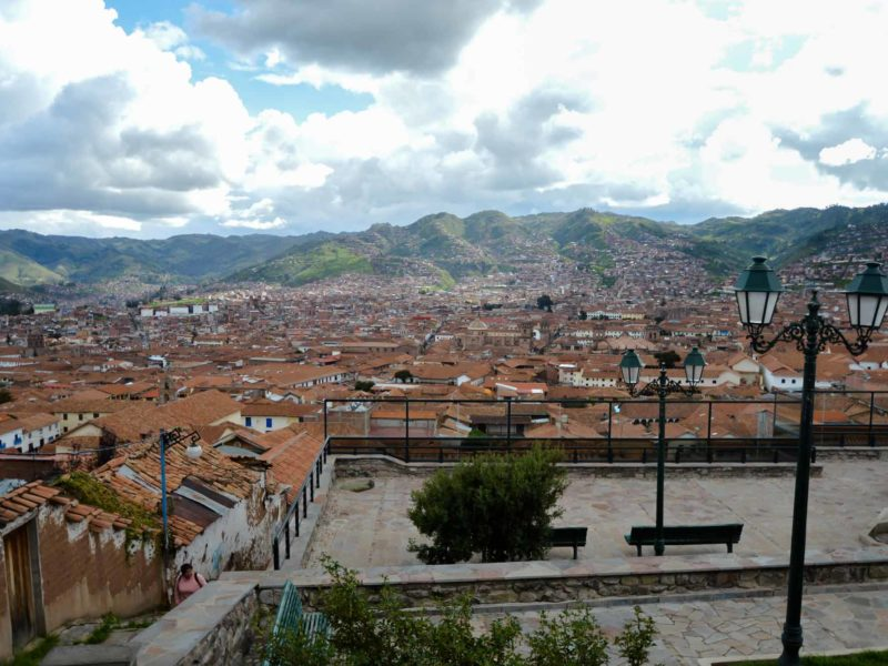 Views across the rooftops from Parque San Marcos in Barrio San Blas, one of the places to stay in Cusco, Peru