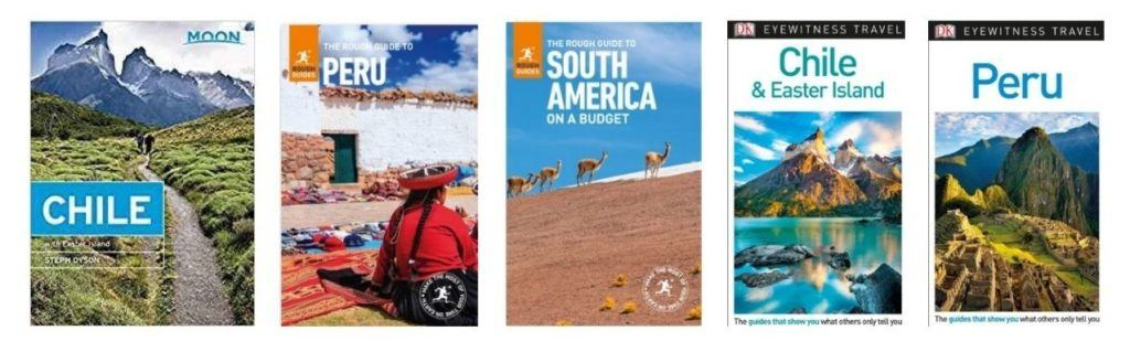 Guidebook titles by Steph Dyson, South America trip planner