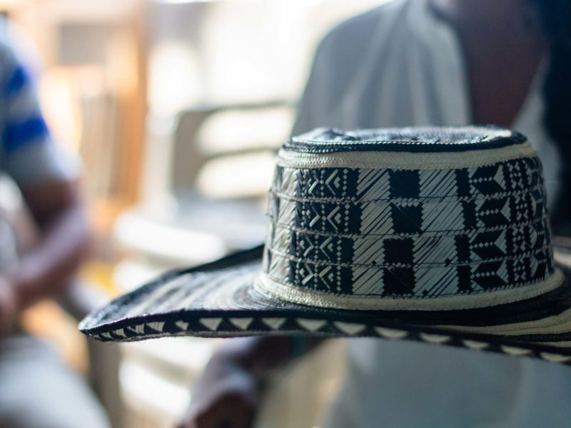 A sombrero vueltiao, a typical Colombia hat woven by the Zenu people from cana flecha and seen on a day tour of Cartagena