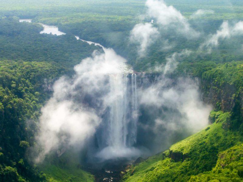 Kaieteur Falls in the rainforest is an eye-catching Guyana tourist attraction.