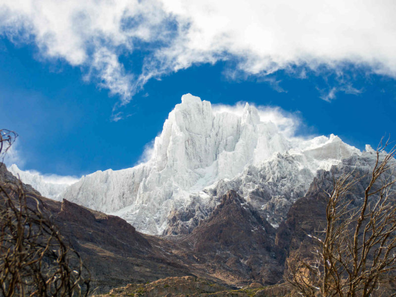 See glistening white mountain peaks against the bright blue sky