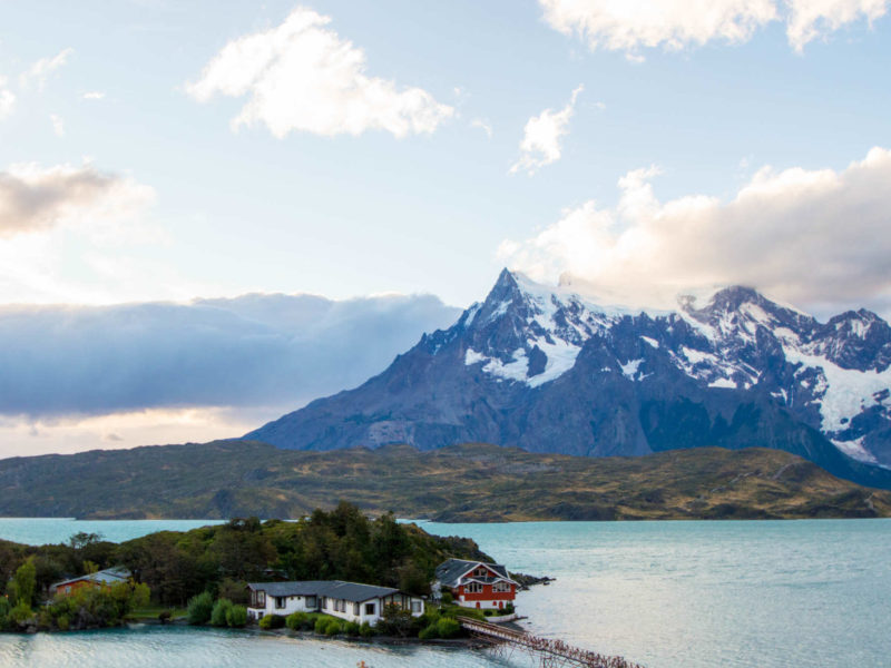 A long causeway connects this island home to some of the best Torres del Paine Day Hikes