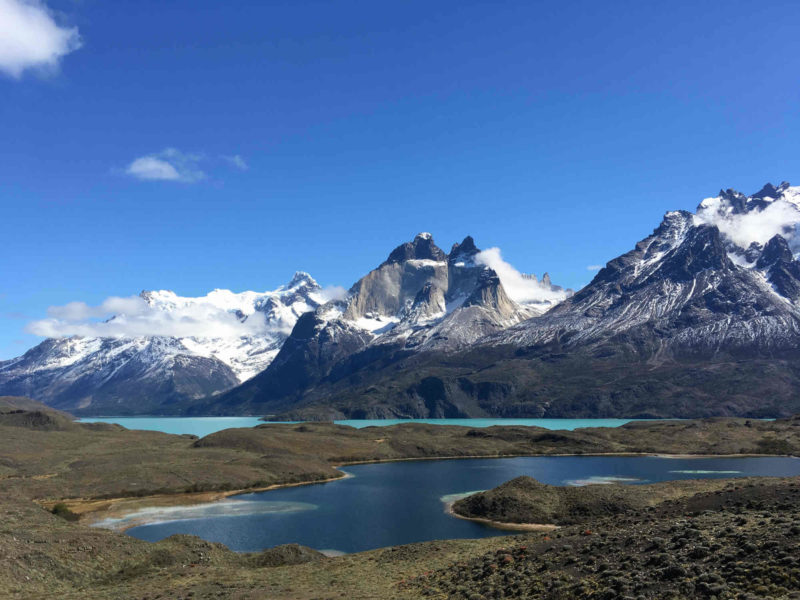 Lago Nordenskjöld in Torres del Paine National Park with the snow-dusted peaks of Los Cuernos as seen from a viewpoint on a Torres del Paine day hike