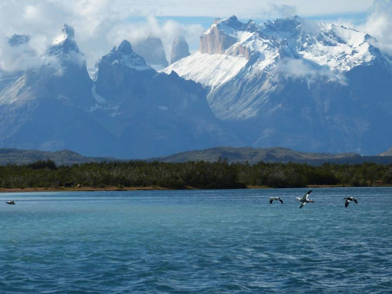 Los Cuernos Mountains above Lago Pehoe in Torres del Paine National Park, Patagonia