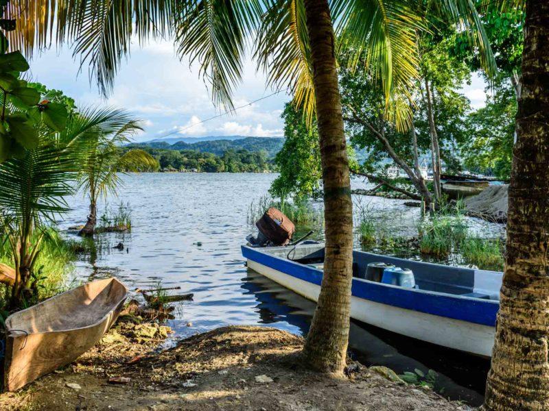 A boat on the shore of the Rio Dulce near Livinston in Guatemala