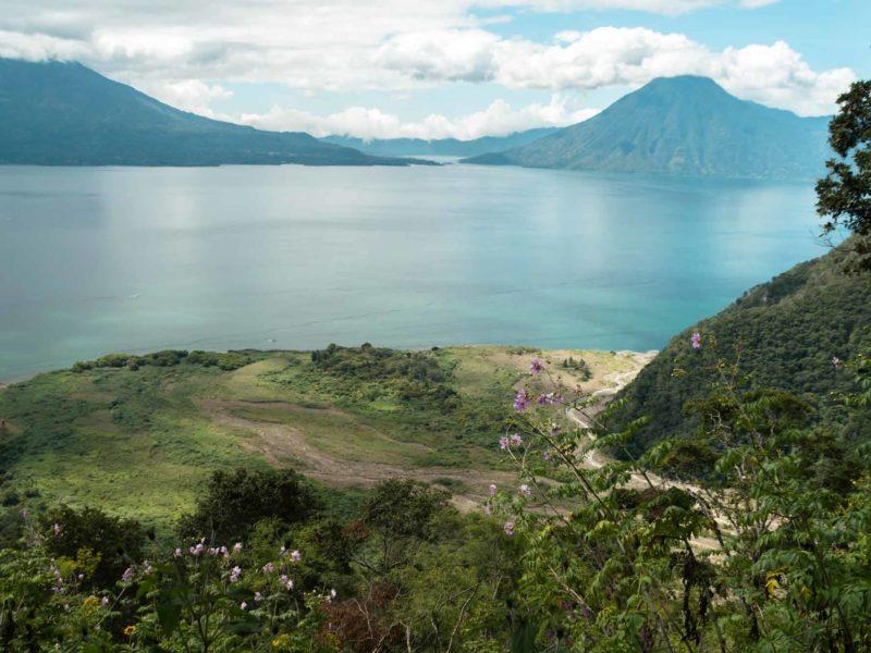 Lago de Atitland with volcanoes in the background