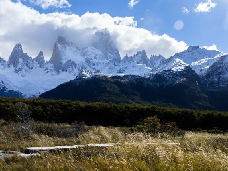 Monte Fitz Roy appears out of the clouds in Parque Nacional Los Glaciares, Argentine Patagonia's hiking capital