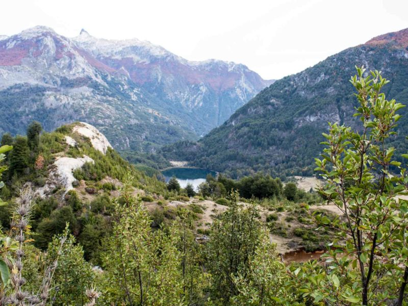 The views from the Piedra del Aguila trail of a lake and the valley beyond in Chilean Patagonia