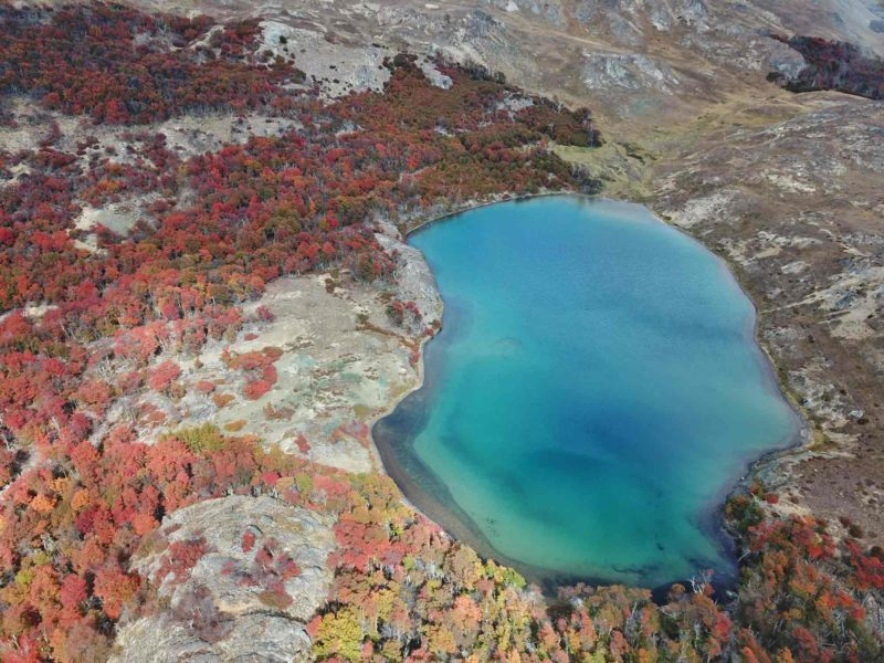 One of the lakes on the Lagunas Altas trail in Parque Nacional Patagonia as seen from the air