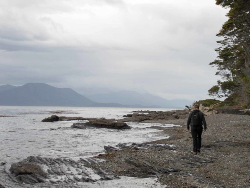 A hiker walks along the beach on the Cabo Froward trail near Punta Arenas in Chilean Patagonia
