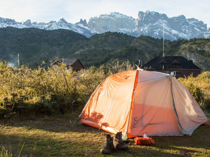 The Big Agnes Copper Spur HV UL 2 pitched on the O Circuit in Torres del Paine National Park, a hike in Patagonia