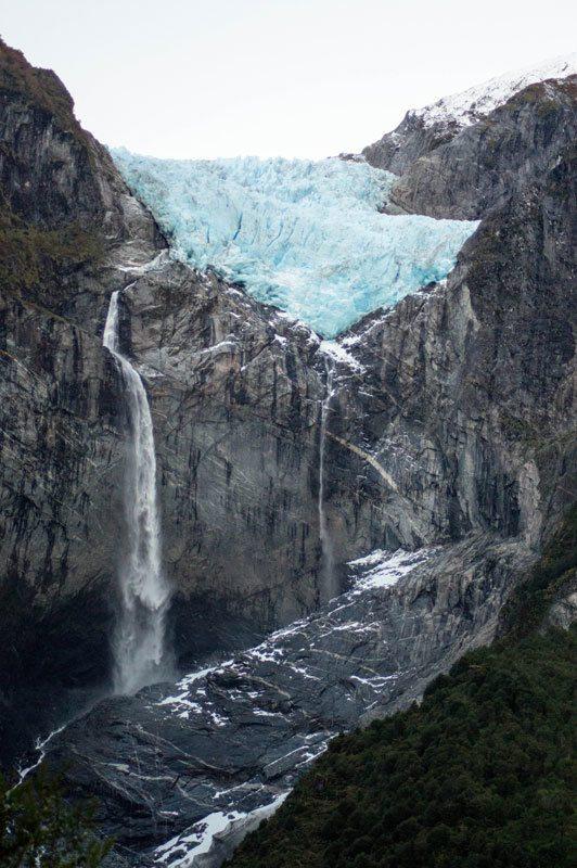 The Ventisquero Colgante or Hanging Glacier, an egg-blue glacier along the Carretera Austral in Chilean Patagonia