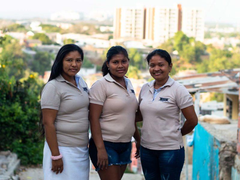 "Women from the Asociacion de Mujeres Indigenas ""Aso Maiz"" pose in the 20 de Julio neighbourhood in Cartagena, Colombia. They run a sustainable weaving tour."