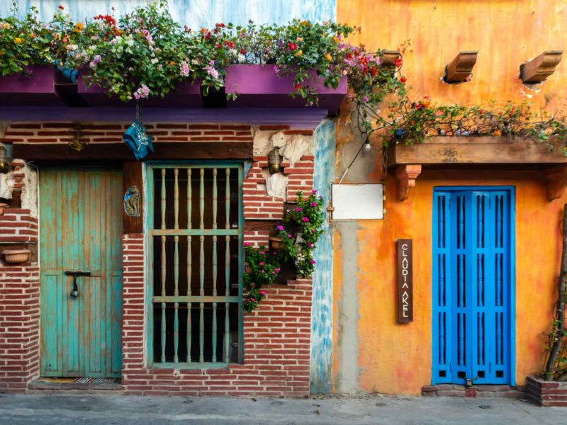 A colourful street in Cartagena, Colombia