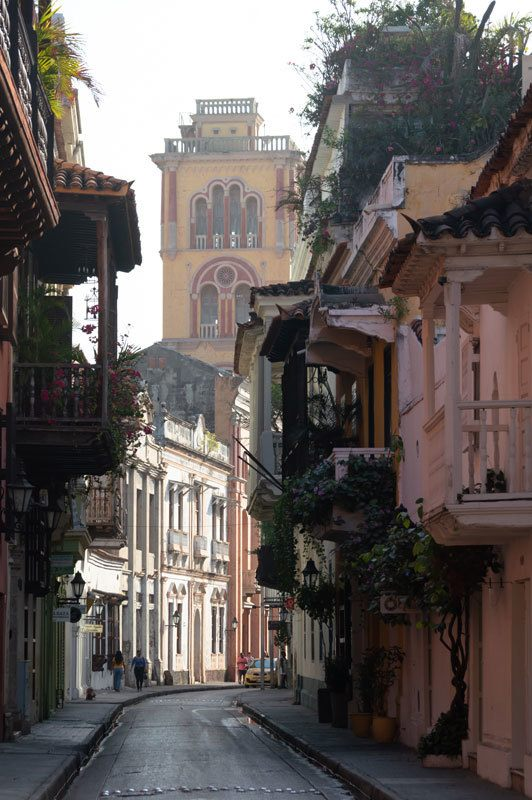 A shot of the streets of Cartagena, Colombia in the early morning