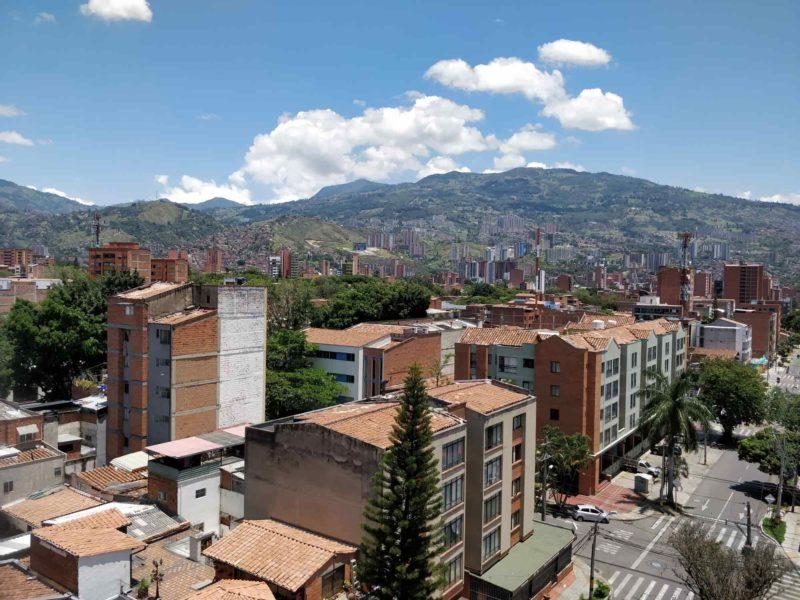 Views of the pollution-free skyline of Medellin, Colombia during coronavirus lockdown in the Laureles neighbourhood