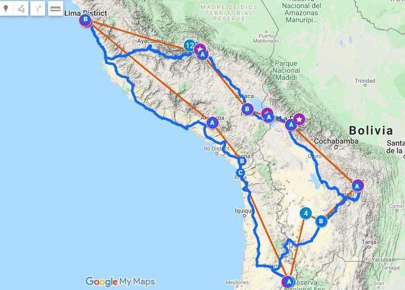 A map with an itinerary for a trip to Peru, Bolivia and Chile plotted