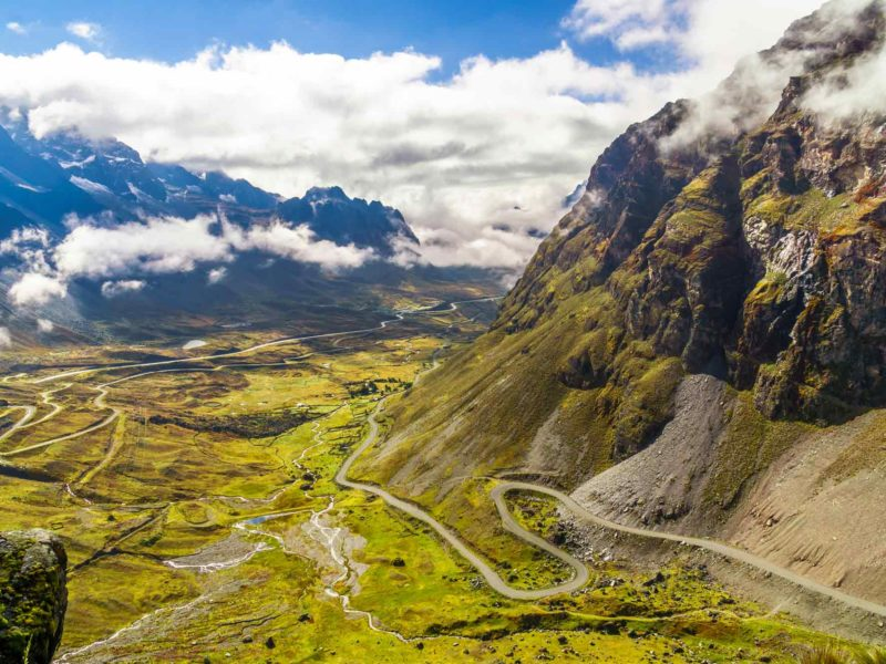 View on Morning fog over the Death Road in the Yungas of Bolivia