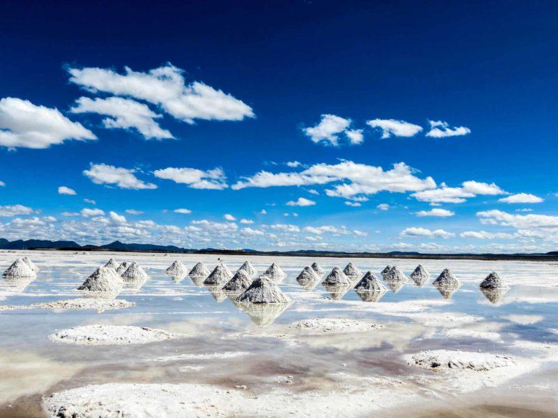 The Bolivian salt flats with piles of salt