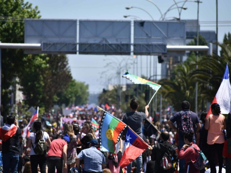 Protesters along a main road in Chilean capital Santiago