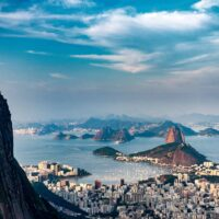 An aerial view of Rio De Janeiro, Brazil