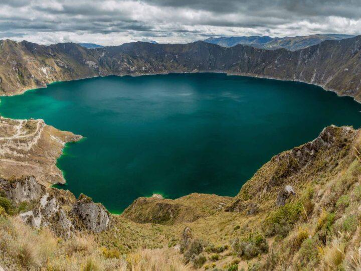 Laguna Quilotoa, a volcanic crater lake in Ecuador