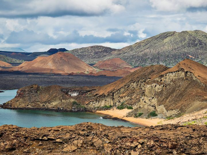 Landscape of Bartolomé Island in the Galápagos Islands, Ecuador.