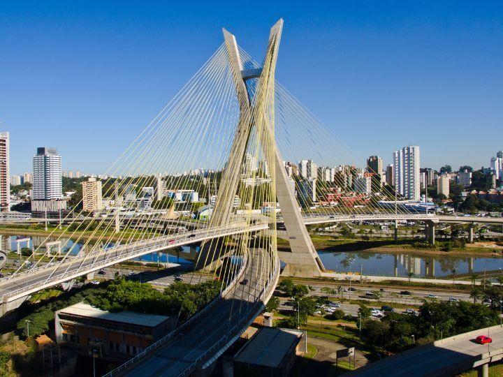 Aerial photo of Octávio Frias de Oliveira Bridge in the city of Sao Paulo, Brazil.