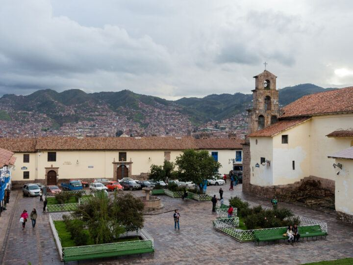 The San Blas Plaza in Cusco after rainfall with views across the city
