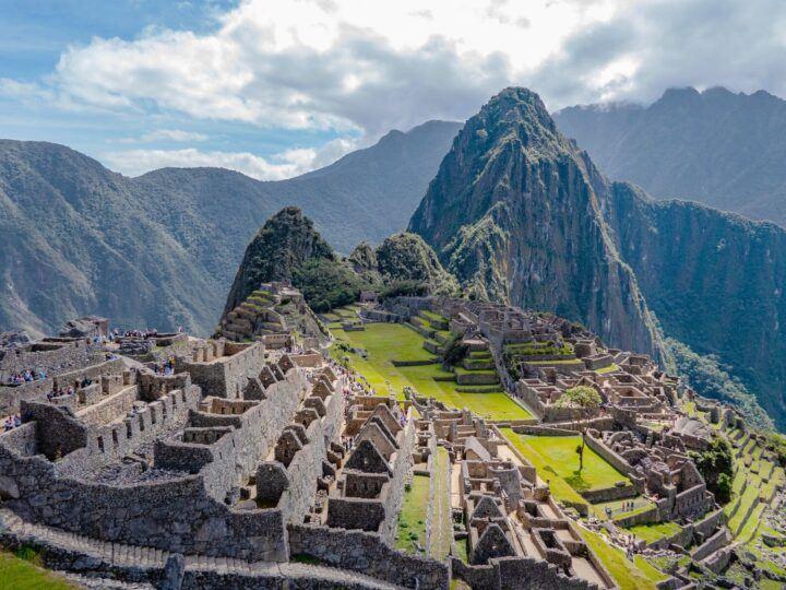 Views across Machu Picchu in Peru as seen from the Sun Gate