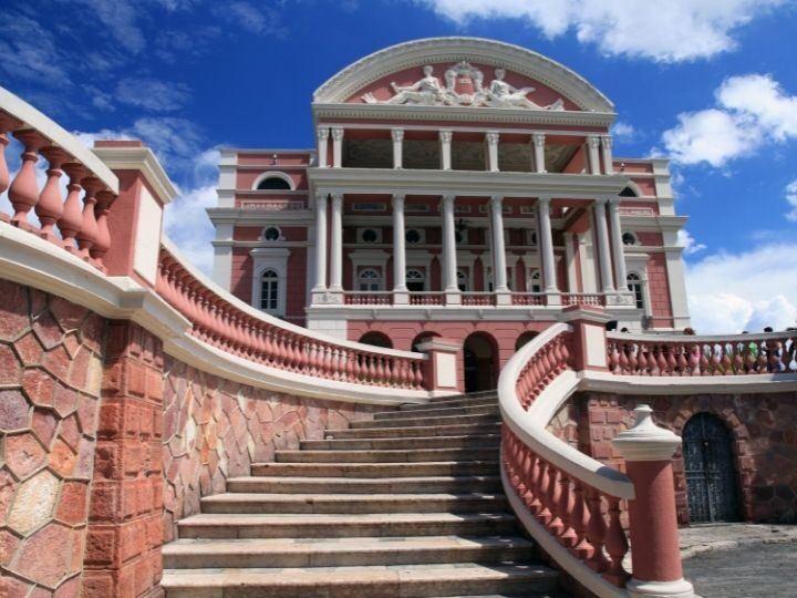 The front stairs of Teatro Amazonas, Manaus, Brazil.